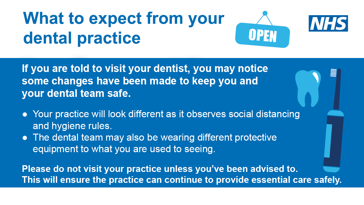 What to expect from your dental practice.  If you are told to visit your dentist, you may notice some changes have been made to keep you and your dental team safe.  Your practice will look different as it observes social distancing and hygiene rules.  The dental team may also be wearing different protective equipment to what you are used to seeing.   Please do not visit your practice unless you've been advised  to.  This will ensure the practice can continue to provide essential care safely.